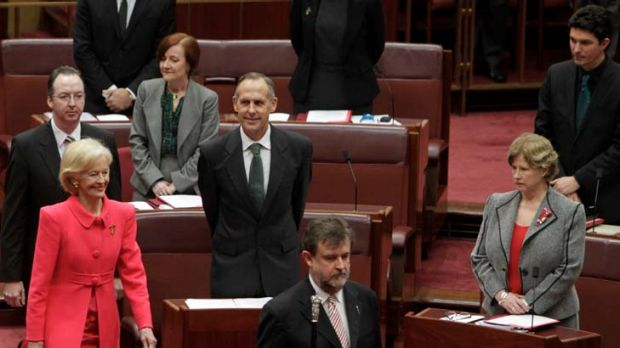In with the new ... Governor-General Quentin Bryce is escorted past Greens leader Bob Brown at Parliament House for the ...
