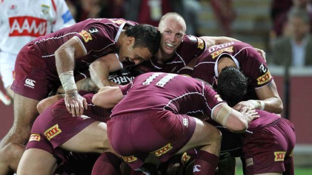 All smiles ... Darren Lockyer grins as Greg Inglis crashed over for another try.