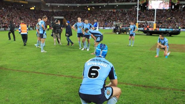 Demoralised ... the Blues could not get their hands on the ball in the first half.