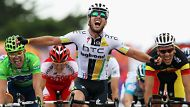 CAP FREHEL, FRANCE - JULY 06:  Mark Cavendish of Great Britain and HTC Highroad crosses the finishline and celebrates ...