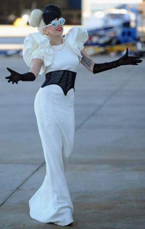 Where's the red carpet? ... Lady Gaga arrives at Sydney Airport yesterday.