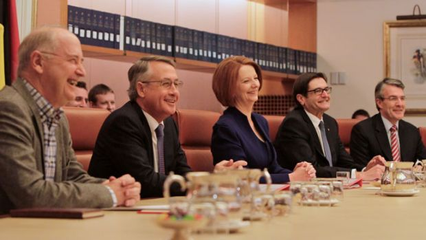 The Prime Minister Julia Gillard chaired today's meeting of the Multi-Party Climate Change Committee with, from left, ...