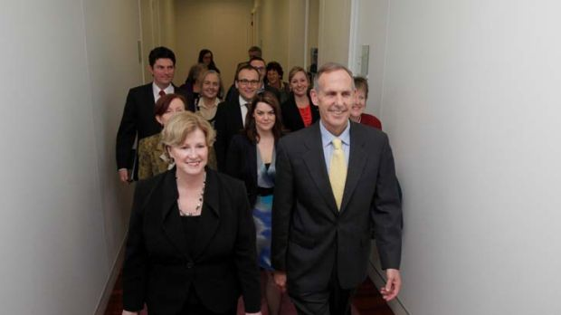 Strength in numbers ... Bob Brown and Christine Milne lead the current, past and incoming Greens MPs for a meeting at ...
