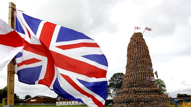 Hundreds of bonfires are being prepared as Protestants across Northern ireland light bonfires on the 11th July to ...