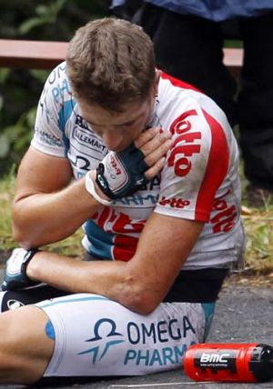 Frederik Willems crashes out of the race with a broken collarbone.