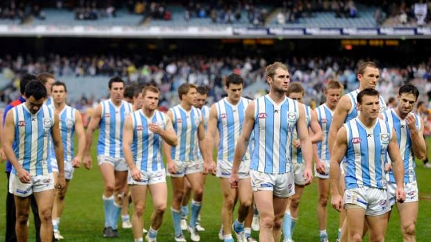 North Melbourne players walk off after losing to Collingwood by a record margin