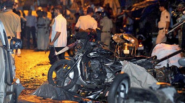 Wreckage ... destroyed motorbikes in the Opera House area.