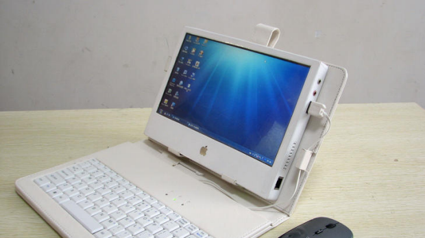 An iPad look-a-like using computer parts, a touch screen and a case with a keypad made by enterprising Chinese man Liu ...