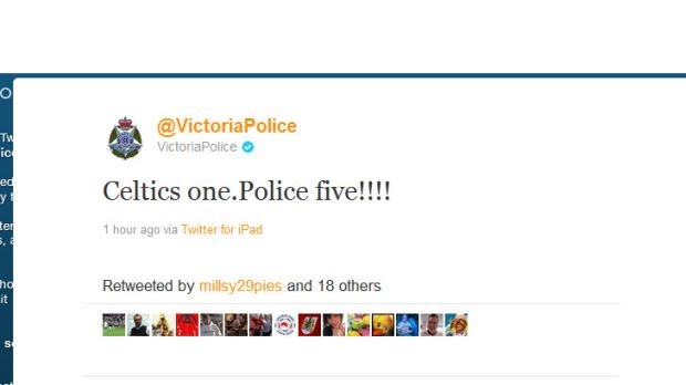 One of the police tweets posted during the Celtic/Victory match last night.
