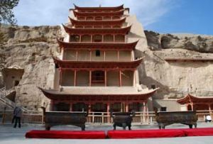 The entrance to the Caves of the Thousand Buddhas where a cave, sealed for a thousand years, contained the world's ...