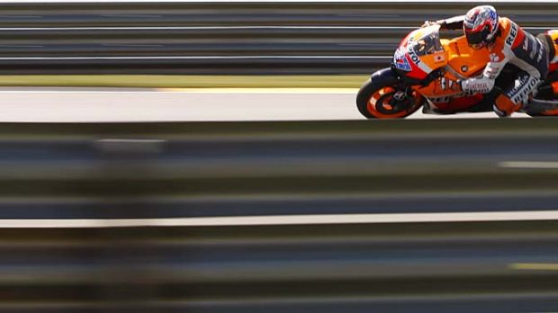 Sharp curve: Australian Casey Stoner in practice for the German MotoGP.