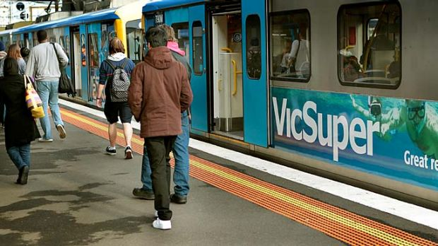 On trial: a Metro train advertising VicSuper.