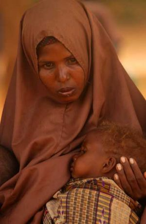 Halima Hussan with her son, Mohammed, at a refugee camp in Dadaab.