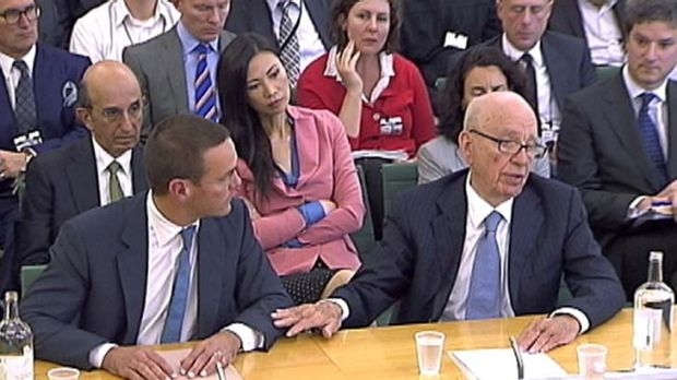 James and Rupert Murdoch appear before a parliamentary committee on phone hacking.