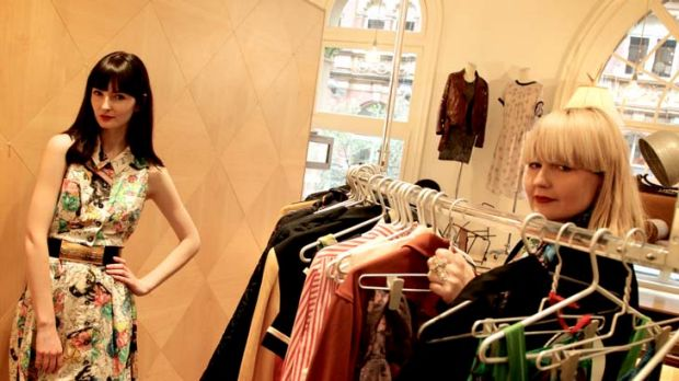 In store and on trend ... Ally O'Sullivan, left, models one of Belinda Humphris's 1980s Chanel dresses from a range of ...