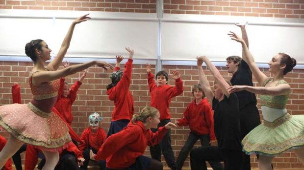 Getting the pointe ... students from Darlington Public School stretch their notions of ballet during a visit from the ...