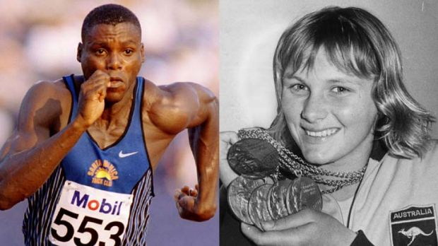 Leading edge ... Eamon Sullivan, Shane Gould, right, Carl Lewis, left, and Usain Bolt all broke world records in their ...