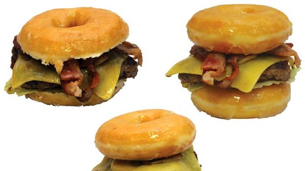 The OMG Double Double burger contains two meat patties, two slices of cheese, bacon and lettuce sandwiched between two ...