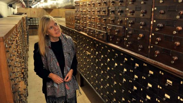 Victoria Thornton, of Open House Worldwide, tours the State Library's catacombs, which will be open to the public this ...