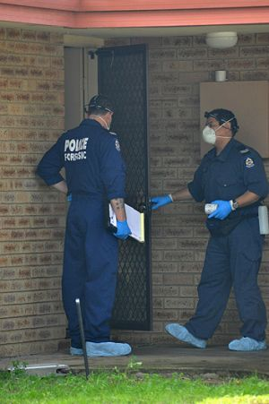 Forensic police were at the house on Hughes Close to investigate.