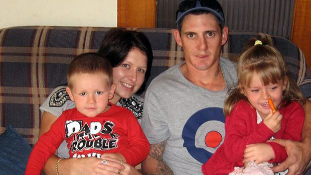 Jason Richards, with his his partner Jessie Laidlaw and their children.