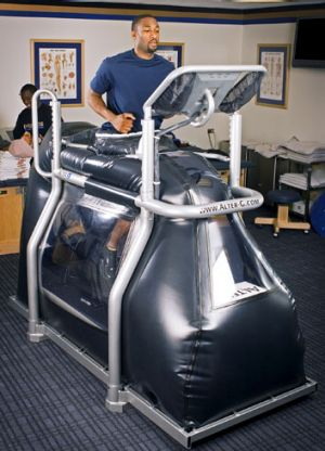 Life saver ... the anti-gravity AlterG treadmill costs $80,000.