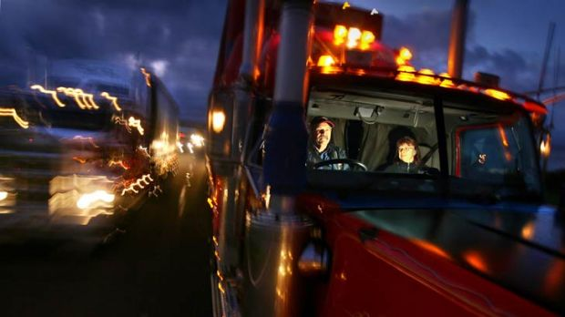 Truck-driving couple John and Robyn Garrard hit the Calder Highway.