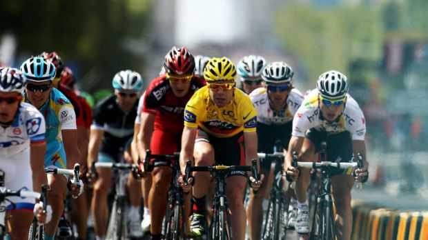 Cadel Evans sporting the yellow jersey in the Tour de France.