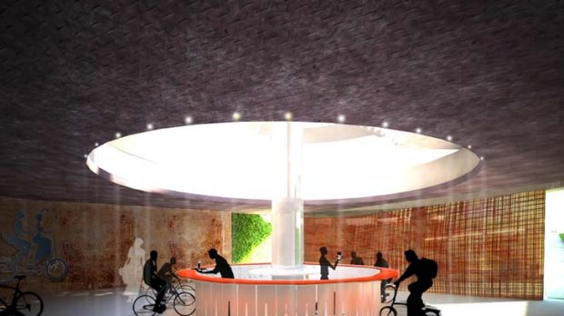 Pedal power ... one of the proposed designs for the Taylor Square cycling hub, produced by final year interior ...