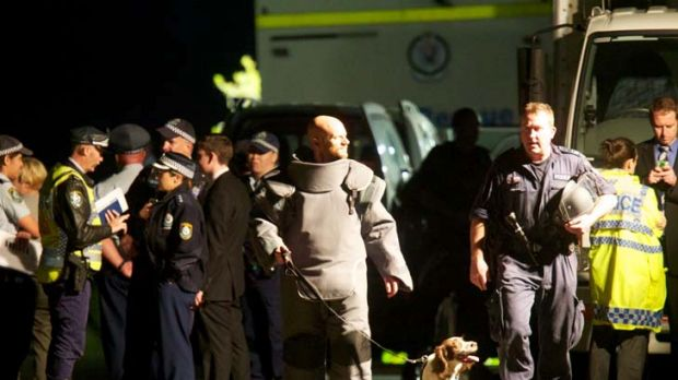 The Bomb Squad gathered at Burrawong Avenue, Mosman last night.