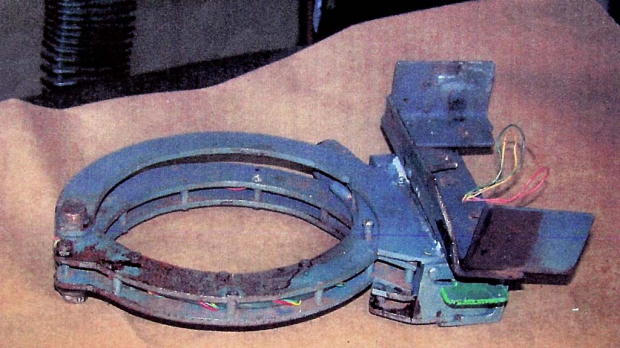 What was left of the collar bomb found on the body of Brian Wells after it exploded following a bank robbery.