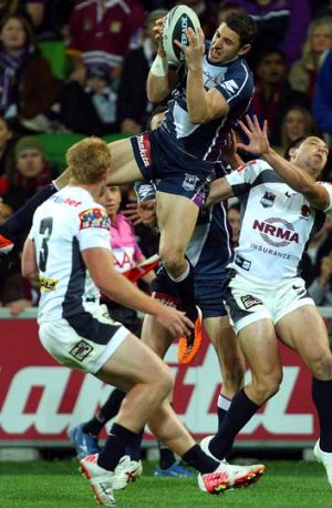 Up he rises … Storm star Billy Slater.