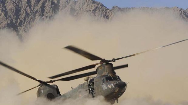 Firefight ... a US army Chinook helicopter similar to the one that crashed in eastern Afghanistan on Friday night.
