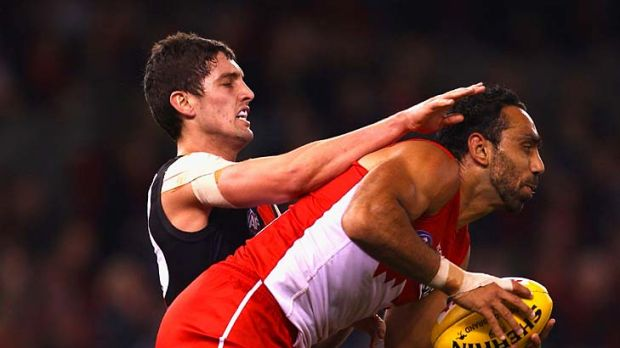 The inspirational Adam Goodes, seen here marking ahead of David Myers of the Bombers, may be missing from the ranks next ...