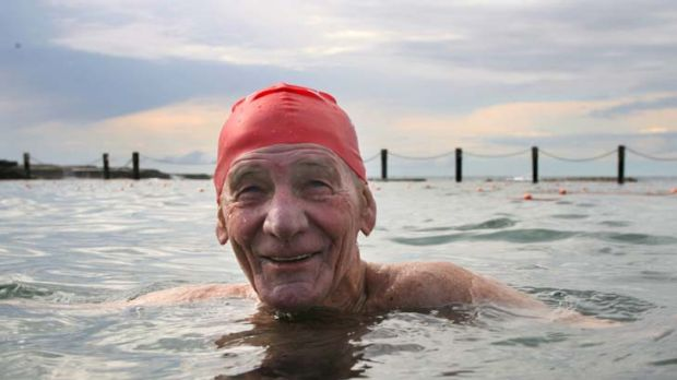 Dip ... Harrie Baker, at Maroubra's Mahon Pool, still competes nationally in swimming. He believes an accommodation bond ...