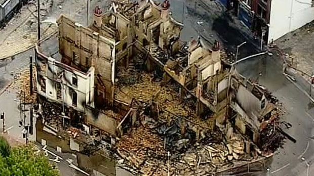 Gone ...The remains of a Croydon furniture store burnt out by rioters.
