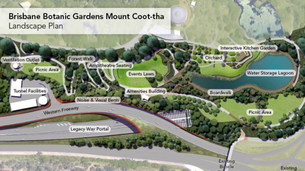 An artists' impression of the new-look Botanic Gardens at Mt Coot-tha.