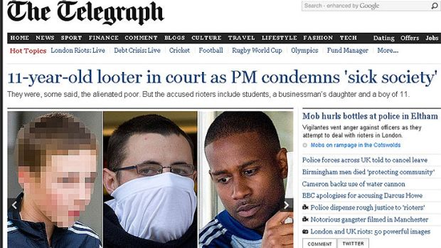 Shame file ... London's Daily Telegraph has published pictures of the accused, including, from left, the 11-year-old ...