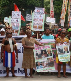 Papuans calling for a referendum for Papua in Jayapura.