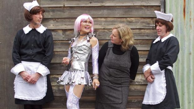 Director of The Maids Suzanne Chaundy (second from right) with cast (from left) Matt Crosby, Yumi Umiumare and Ben Rogan.