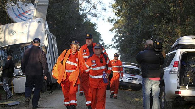 Police and SES volunteers begin today's search for the remains of Daniel Morcombe in bushland at the end of Kings Road, ...