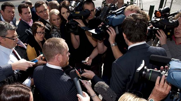Tim Meehan, the lawyer for the man accused of murdering Daniel Morcombe, speaks with the media outside court.