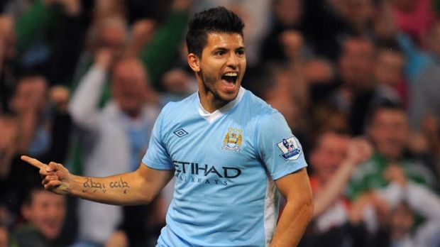 Manchester City's Argentinian forward Sergio Aguero celebrates after scoring during the English Premier League football ...