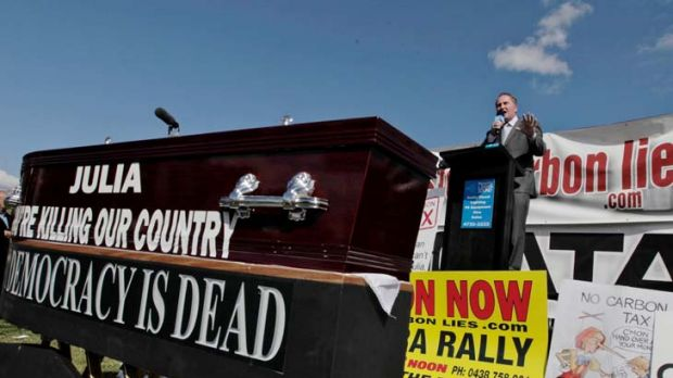 Barnaby Joyce addresses the No Carbon Tax rally outside Parliament House today.