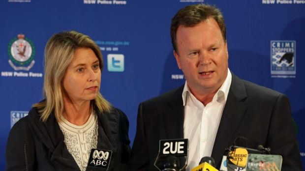 William Pulver and wife Belinda at a press conference, Tuesday 16 th  August 2011 regarding the arrest of a man who had ...