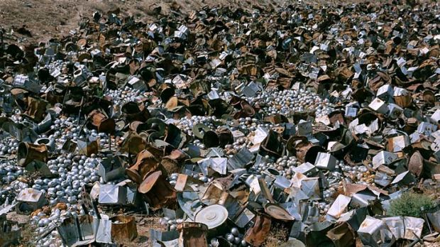 A pile of cluster munitions in Afghanistan. The Senate is debating a bill that must lead to Australia fully banning ...