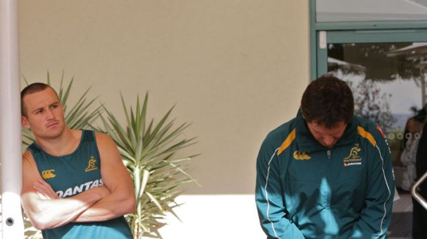 True picture … the October, 2009 photo that showed all was not well between Matt Giteau and coach Robbie Deans.