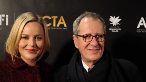 Plenty of hype: Abbie Cornish with Geoffrey Rush help launch a new awards ceremony last night in Sydney.