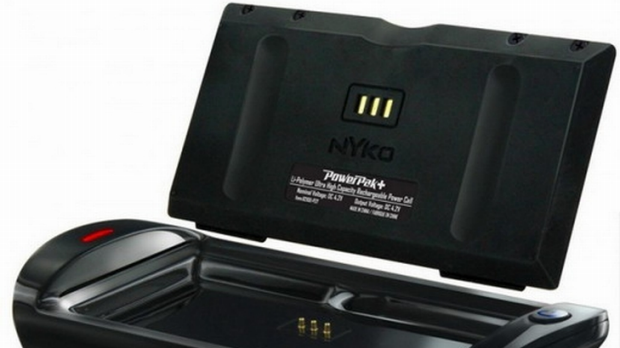 Nyko PowerPak+, pictured here with its charging cradled, promises to double the Nintendo 3DS's brief battery life.