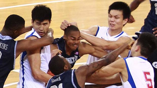 Fight erupts between Georgetown University and Bayi Rockets.